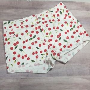 Ellison cherry printed white shorts size small